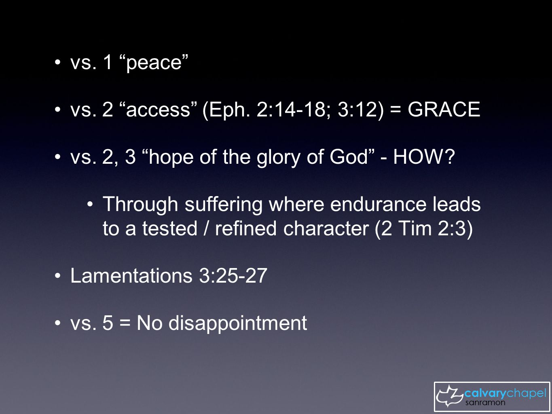 vs. 1 peace vs. 2 access (Eph. 2:14-18; 3:12) = GRACE vs.