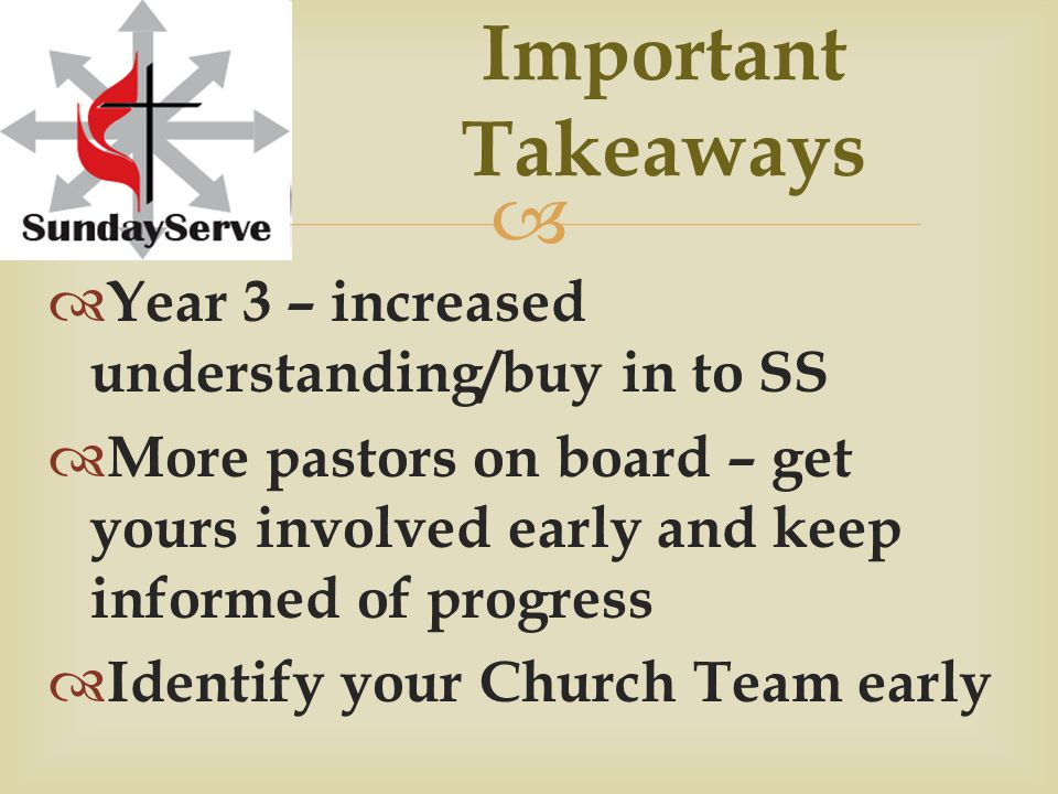  Important Takeaways  Year 3 – increased understanding/buy in to SS  More pastors on board – get yours involved early and keep informed of progress  Identify your Church Team early