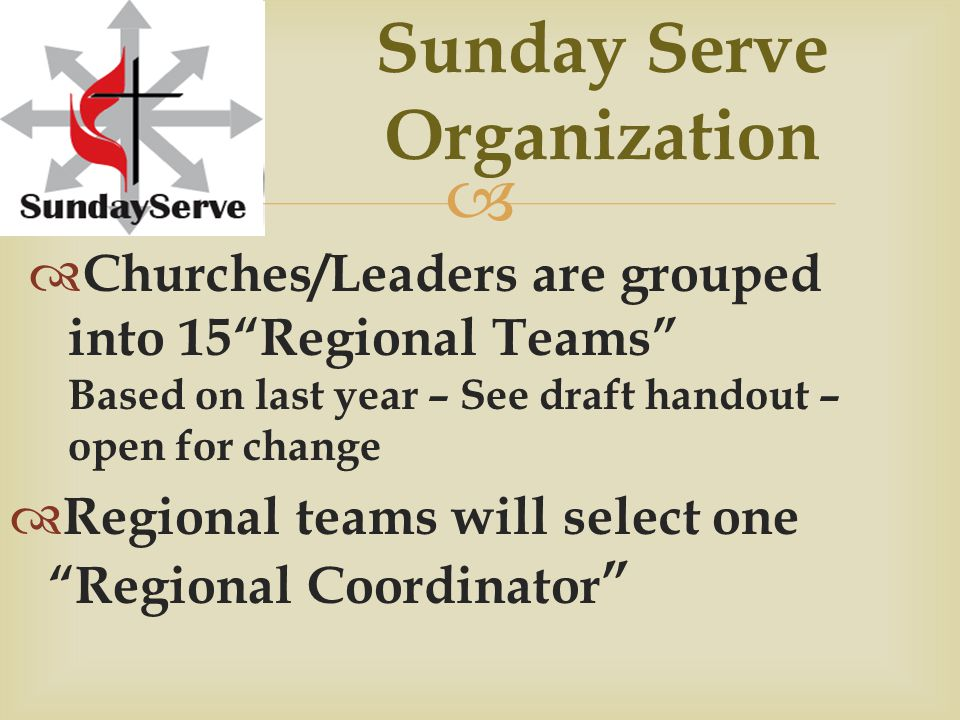 Church Team Promotion with Congregation  EVERYONE can serve  All Ages and Abilities  God's Presence in our midst  Serving + Return & Rejoice  Back to our real roots!