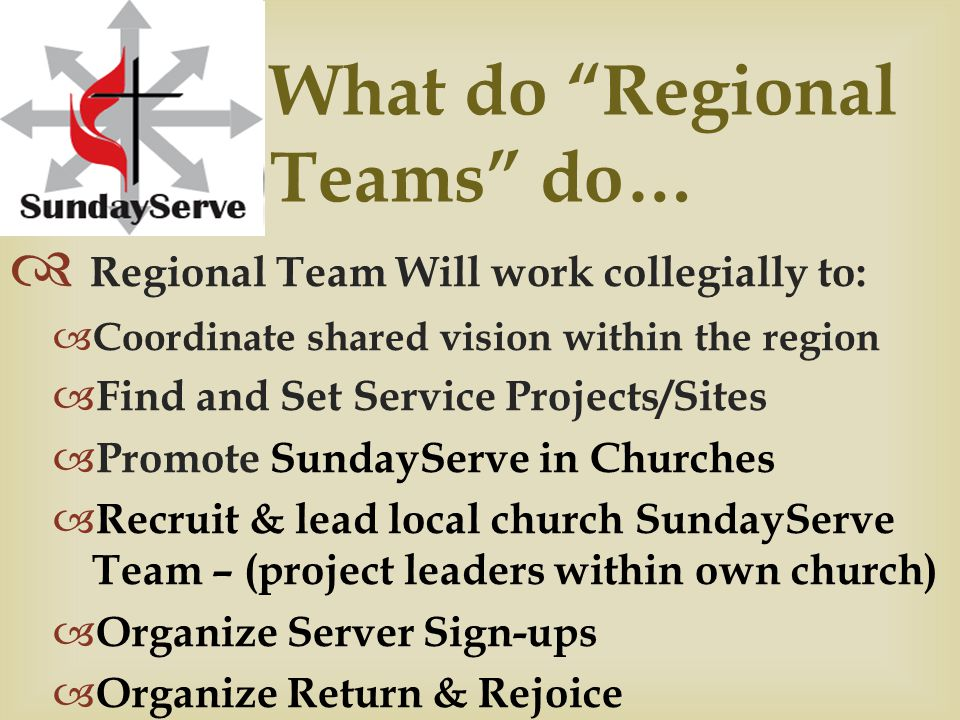 What do Local Church Leaders do…  Serve on your Regional Team as the representative voice from your church  Work collegially with all Local Church Leaders in your region to coordinate efforts of SundayServe  Local Church Leaders assist in all aspects, from finding Service Sites to signing up servers, helping identify project leaders, helping plan the Return & Rejoice, planning SundayServe Project Follow-thru to encourage and support ongoing service