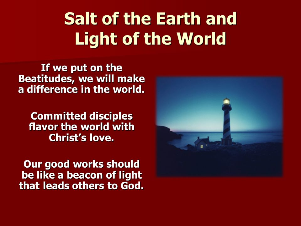 Salt of the Earth and Light of the World If we put on the Beatitudes, we will make a difference in the world. Committed disciples flavor the world wit