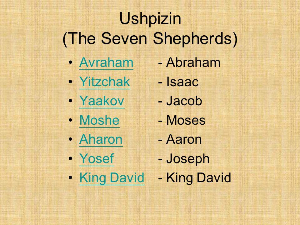 Ushpizin (The Seven Shepherds) Avraham- AbrahamAvraham Yitzchak- IsaacYitzchak Yaakov- JacobYaakov Moshe- MosesMoshe Aharon - AaronAharon Yosef - JosephYosef King David- King DavidKing David