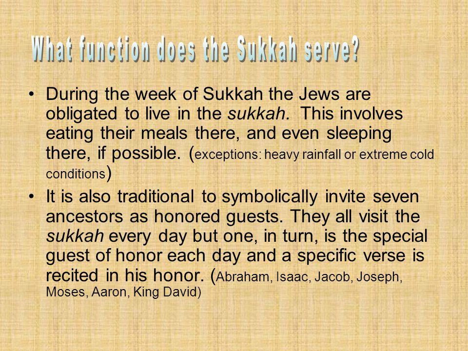 During the week of Sukkah the Jews are obligated to live in the sukkah.