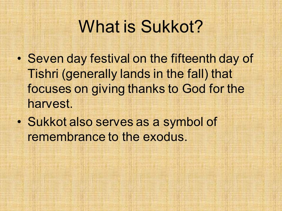 What is Sukkot.