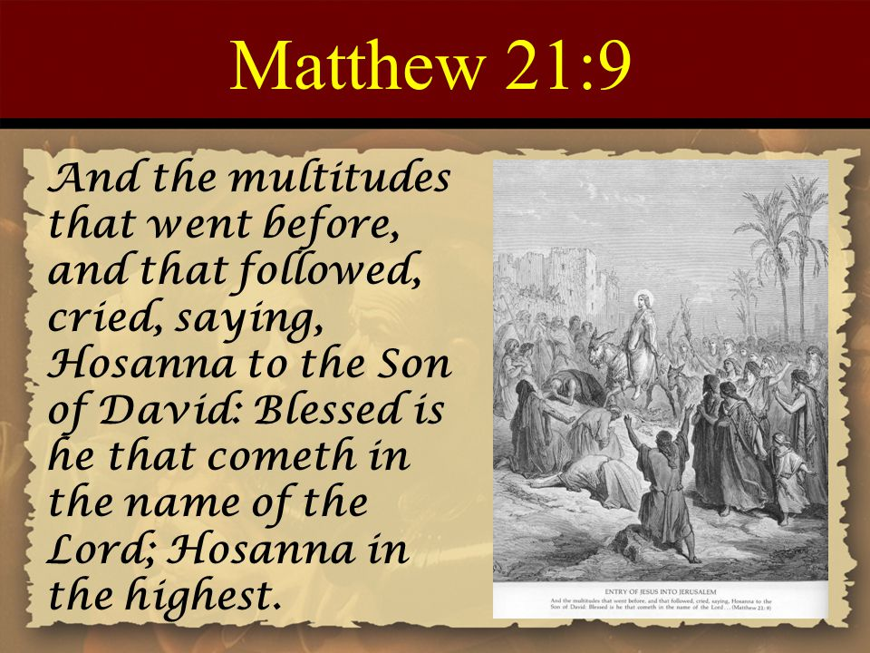 Matthew 21:9 And the multitudes that went before, and that followed, cried, saying, Hosanna to the Son of David: Blessed is he that cometh in the name