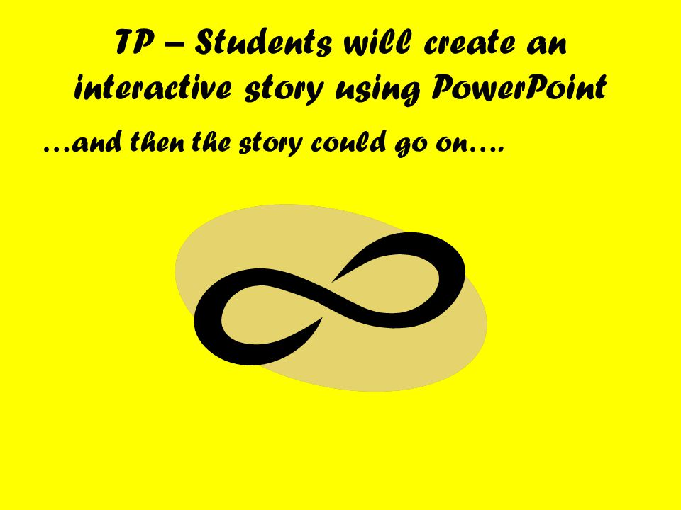 …and then the story could go on…. TP – Students will create an interactive story using PowerPoint