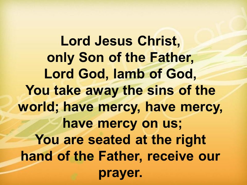Lord Jesus Christ, only Son of the Father, Lord God, lamb of God, You take away the sins of the world; have mercy, have mercy, have mercy on us; You a