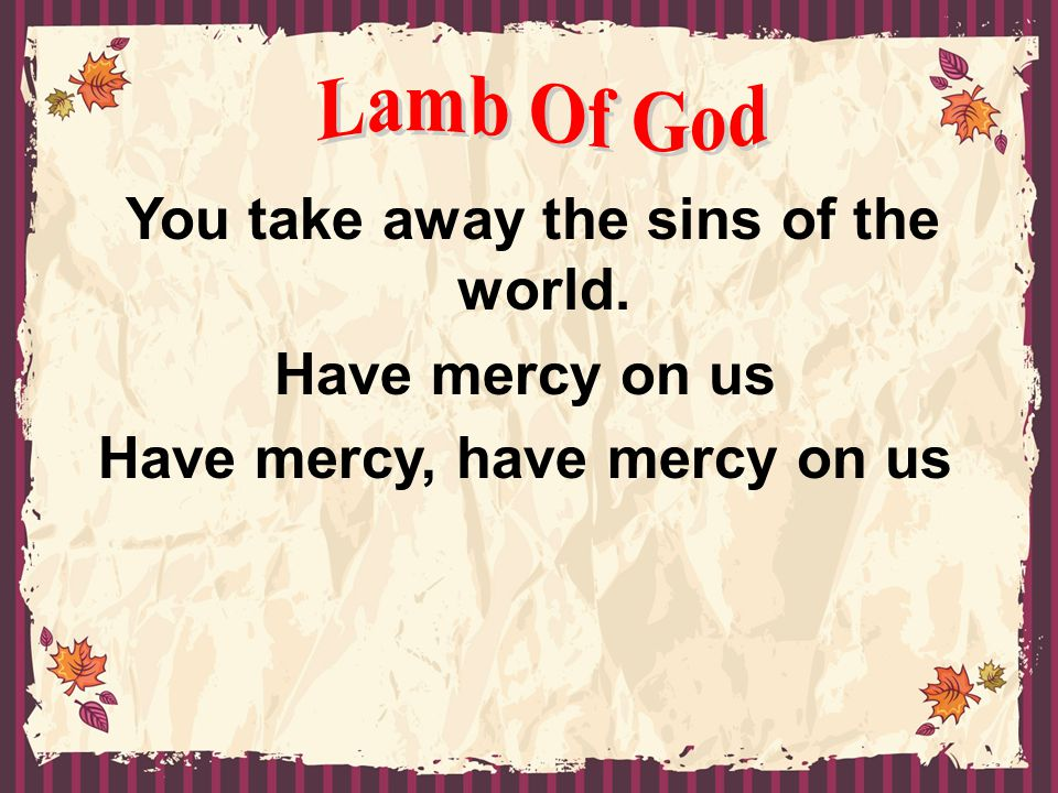 You take away the sins of the world. Have mercy on us Have mercy, have mercy on us