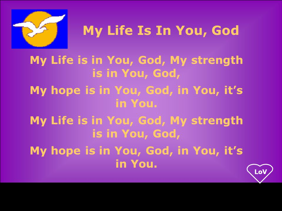 LoV My Life Is In You, God My Life is in You, God, My strength is in You, God, My hope is in You, God, in You, it's in You.