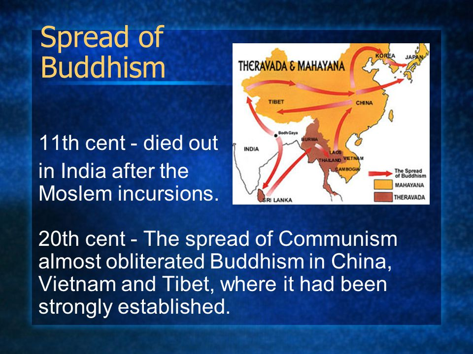Spread of Buddhism 11th cent - died out in India after the Moslem incursions. 20th cent - The spread of Communism almost obliterated Buddhism in China