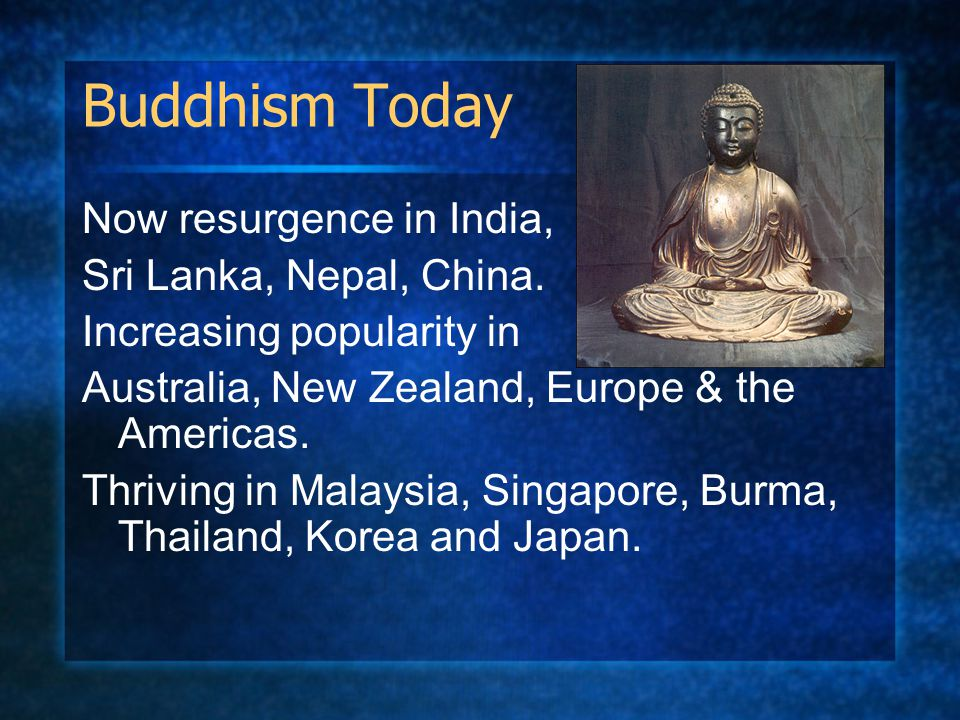 Buddhism Today Now resurgence in India, Sri Lanka, Nepal, China. Increasing popularity in Australia, New Zealand, Europe & the Americas. Thriving in M