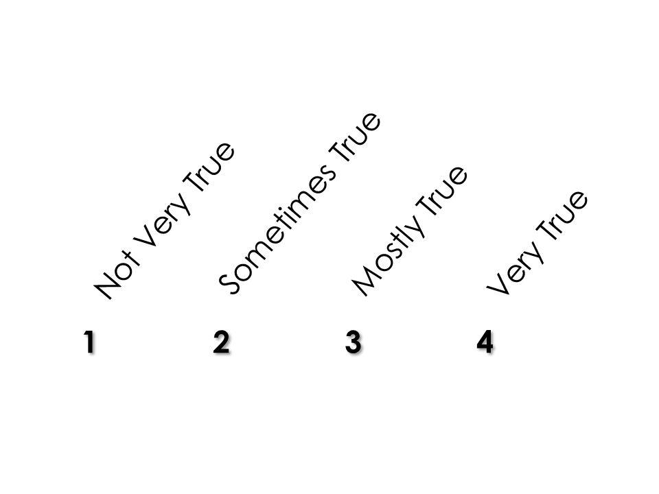 12341234 12341234 Not Very True Sometimes True Mostly True Very True