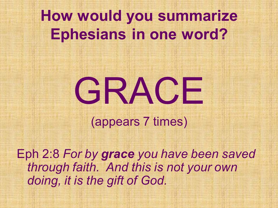 GRACE (appears 7 times) Eph 2:8 For by grace you have been saved through faith.