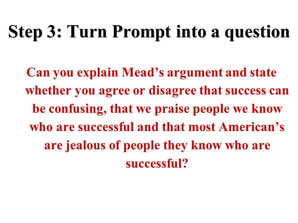 Step 3: Turn Prompt into a question Can you explain Mead's argument and state whether you agree or disagree that success can be confusing, that we pra