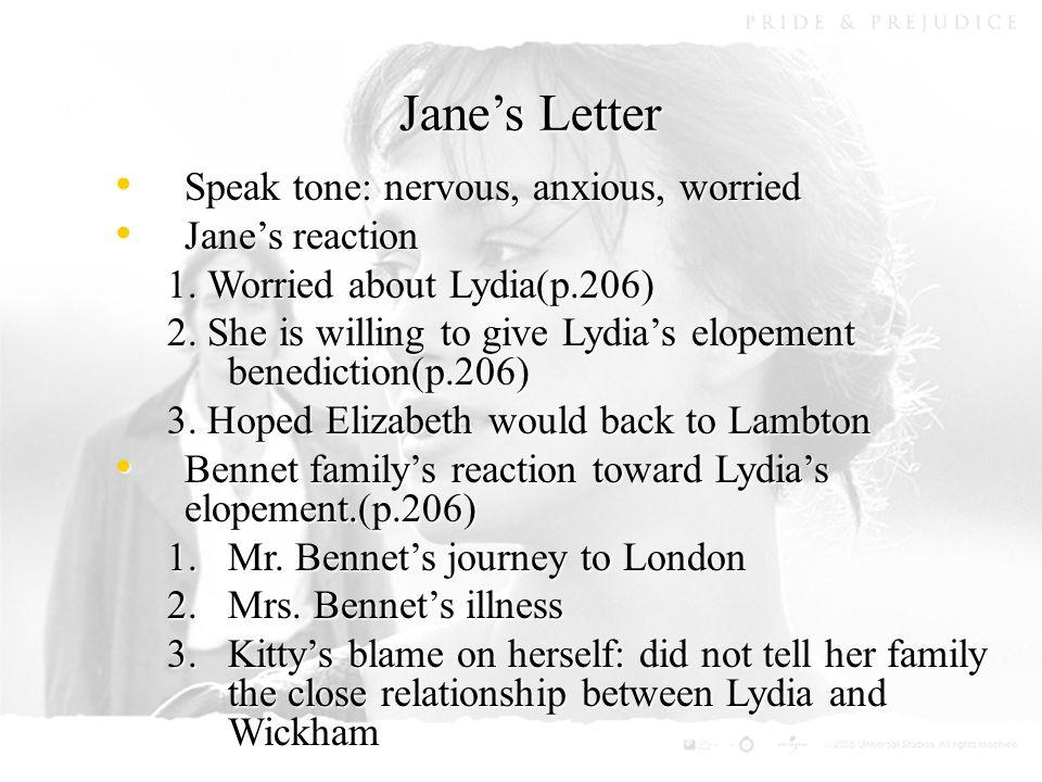 Jane's Letter Speak tone: nervous, anxious, worried Speak tone: nervous, anxious, worried Jane's reaction Jane's reaction 1.
