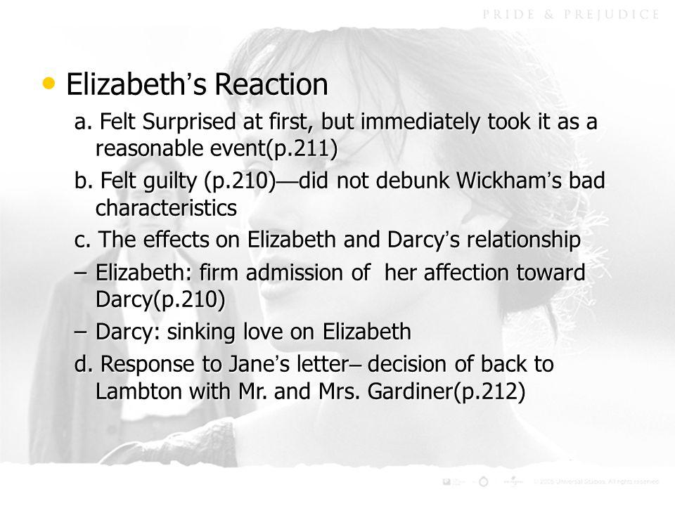 Elizabeth ' s Reaction Elizabeth ' s Reaction a.