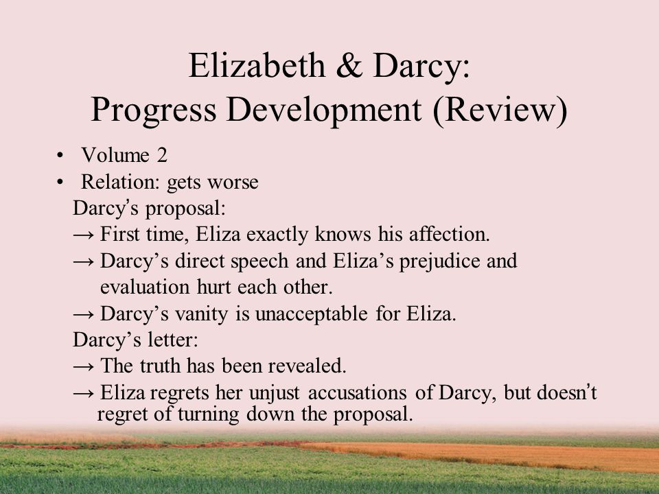Elizabeth & Darcy: Progress Development (Review) Volume 2 Relation: gets worse Darcy ' s proposal: → First time, Eliza exactly knows his affection.
