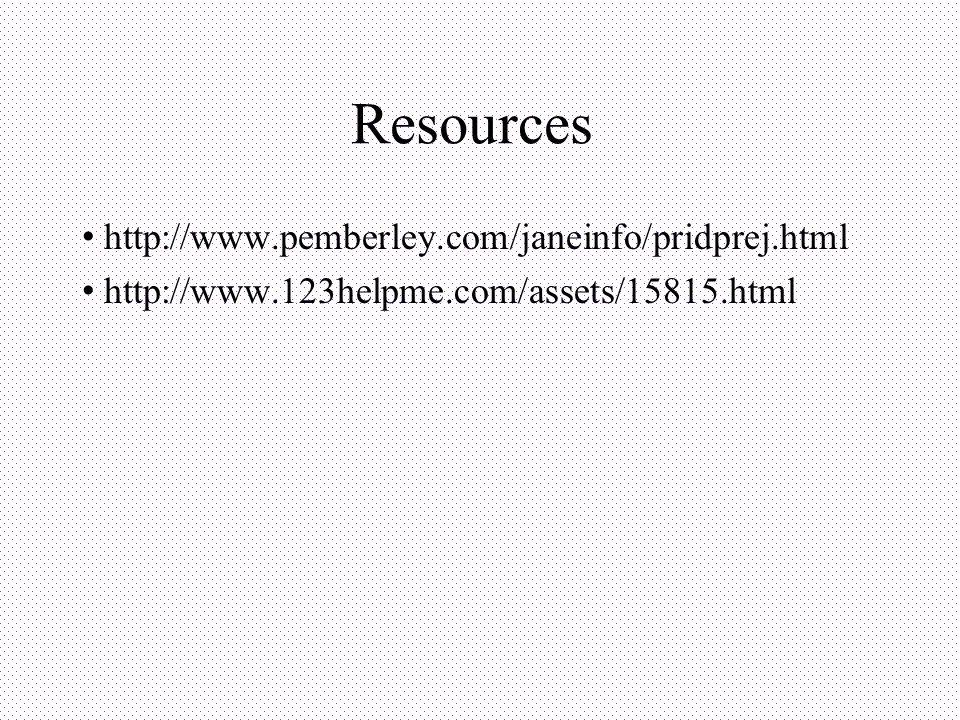 Resources http://www.pemberley.com/janeinfo/pridprej.html http://www.123helpme.com/assets/15815.html