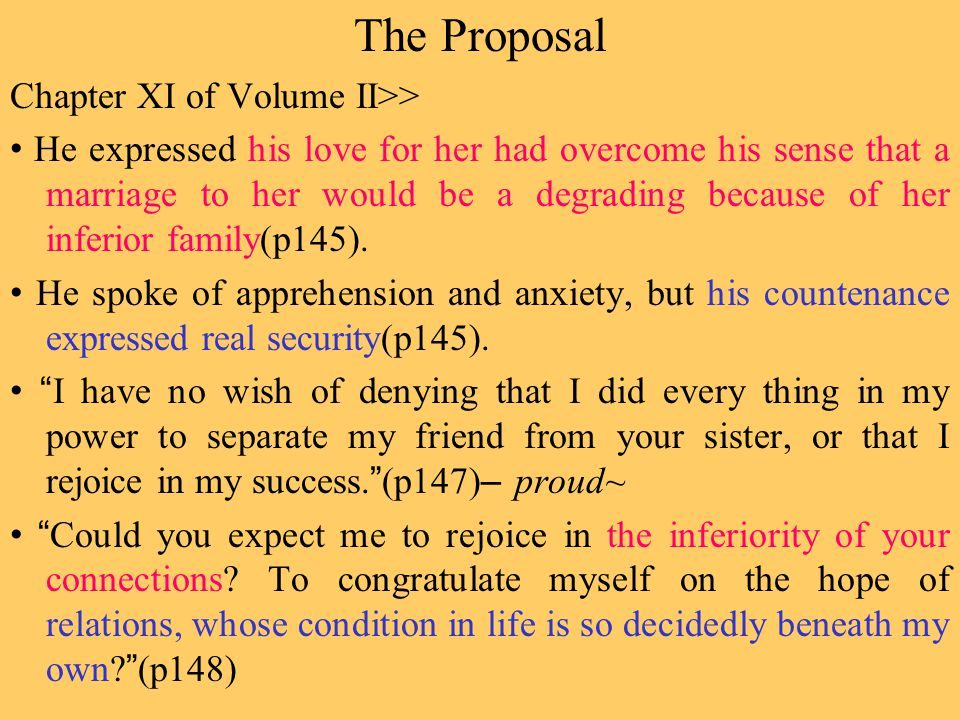 The Proposal Chapter XI of Volume II>> He expressed his love for her had overcome his sense that a marriage to her would be a degrading because of her inferior family(p145).