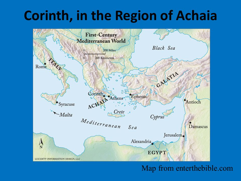 Corinth, in the Region of Achaia Map from enterthebible.com