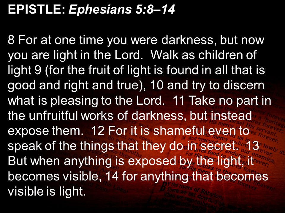 EPISTLE: Ephesians 5:8–14 8 For at one time you were darkness, but now you are light in the Lord. Walk as children of light 9 (for the fruit of light