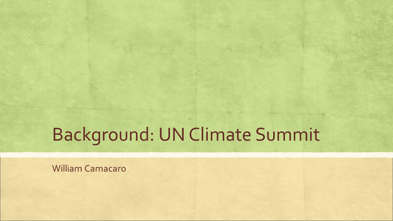 Background: UN Climate Summit William Camacaro