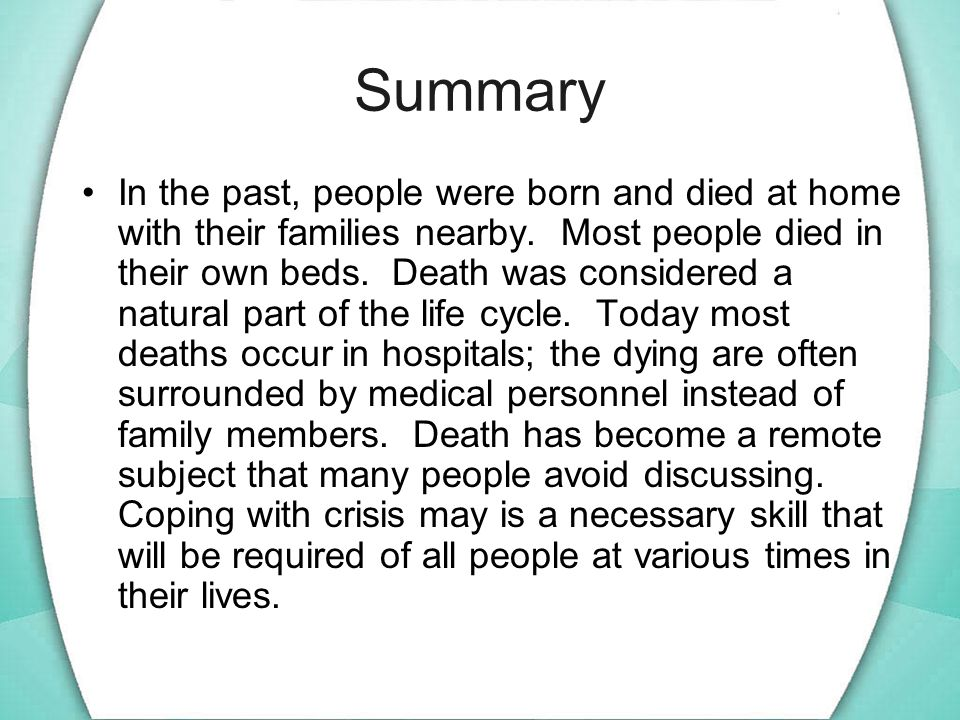 Summary In the past, people were born and died at home with their families nearby.