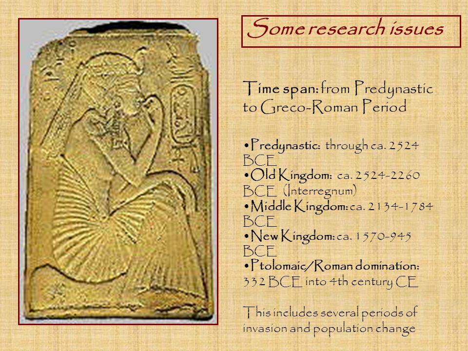 Time span: from Predynastic to Greco-Roman Period Predynastic: through ca.