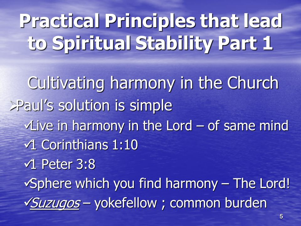 5 Practical Principles that lead to Spiritual Stability Part 1 Cultivating harmony in the Church  Paul's solution is simple Live in harmony in the Lo