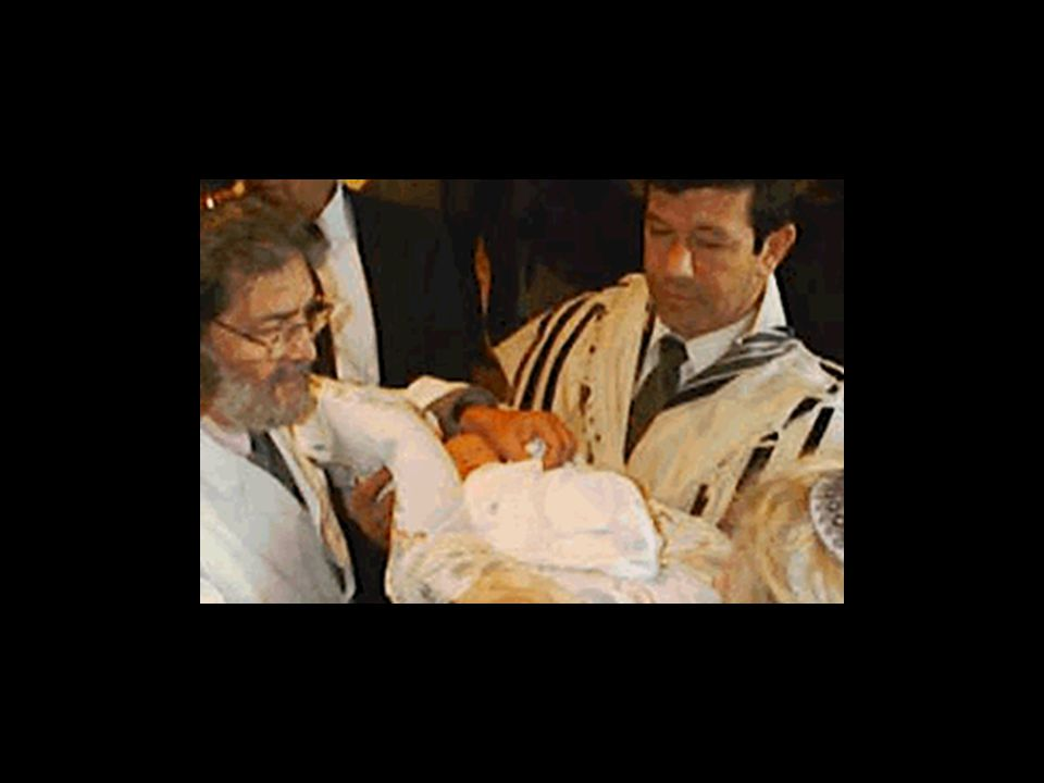 The Mohel takes the baby from the Kvatter and places him on the Sandak s lap.