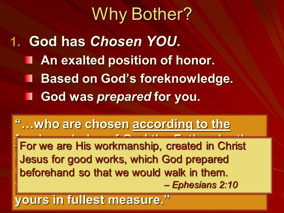 "Why Bother? 1. God has Chosen YOU. An exalted position of honor. Based on God's foreknowledge. God was prepared for you. ""…who are chosen according to"