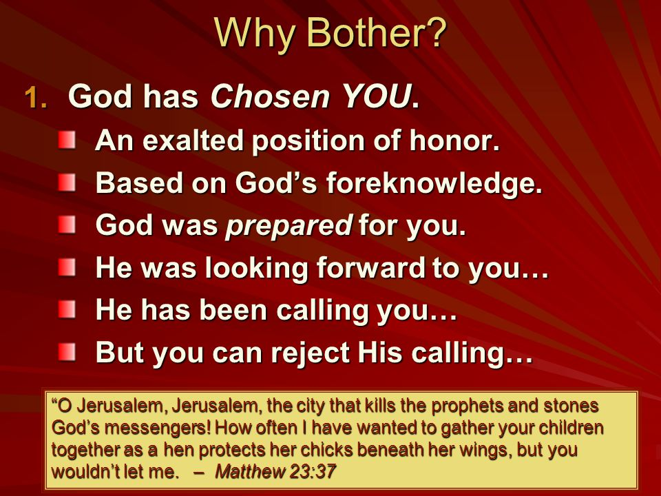 Why Bother. 1. God has Chosen YOU. An exalted position of honor.