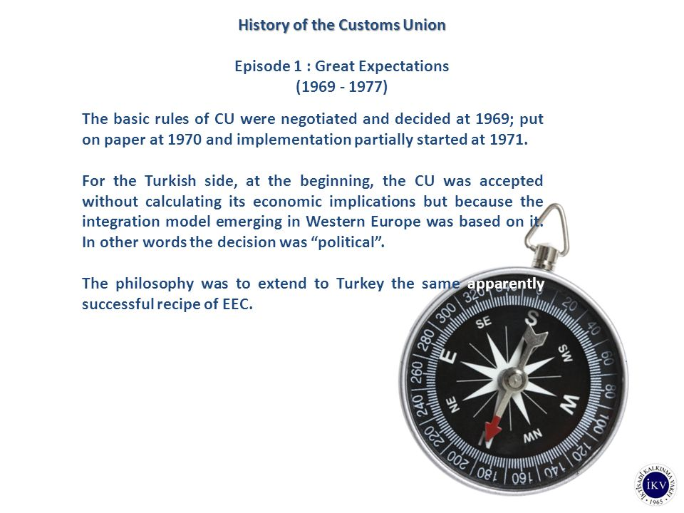 The basic rules of CU were negotiated and decided at 1969; put on paper at 1970 and implementation partially started at 1971. For the Turkish side, at