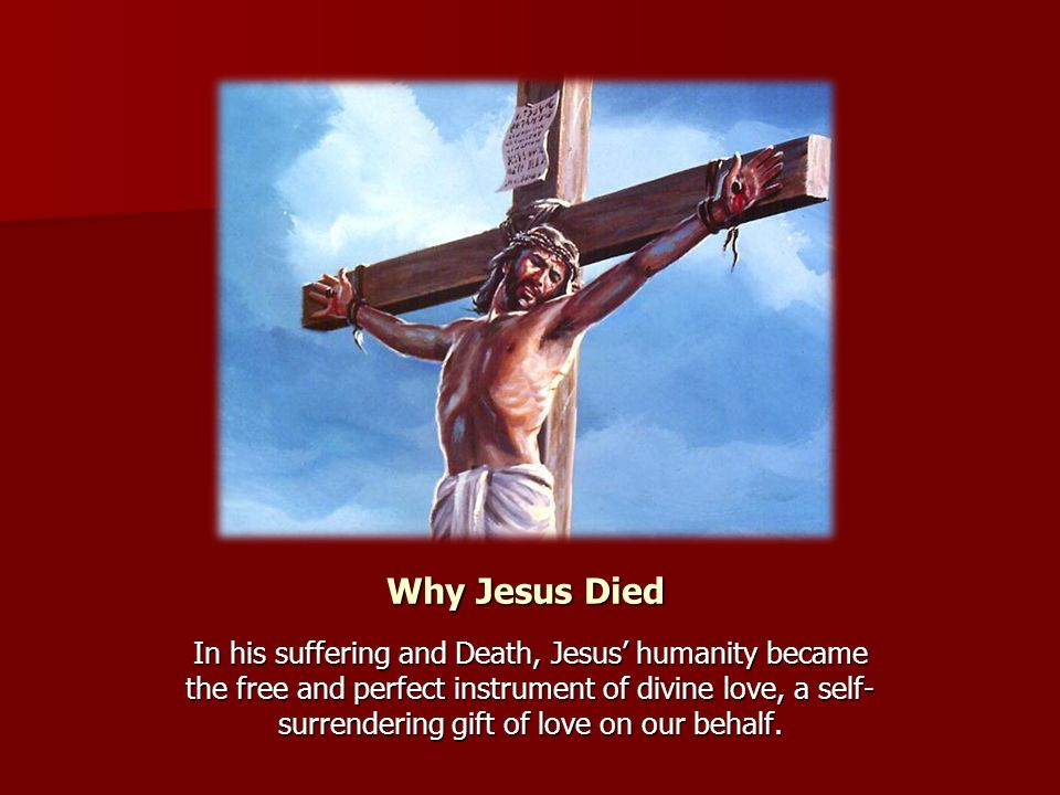 Why Jesus Died In his suffering and Death, Jesus' humanity became the free and perfect instrument of divine love, a self- surrendering gift of love on our behalf.
