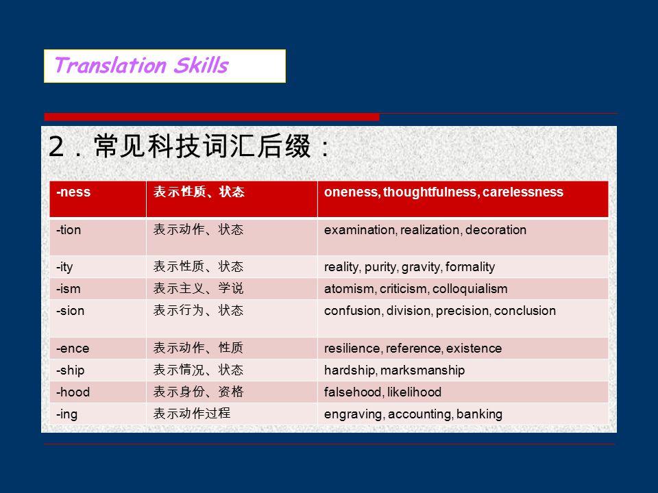 二、在科技英语翻译中,有很多术语由词缀构成,因此,了解词缀很 有必要。 1 .常见科技词汇前缀: Translation Skills inter- 相互 interplay micro- 微 microcosm trans- 跨 transplant circum- 绕 circumstance contra- 相反 contradiction multi- 多 multimedia