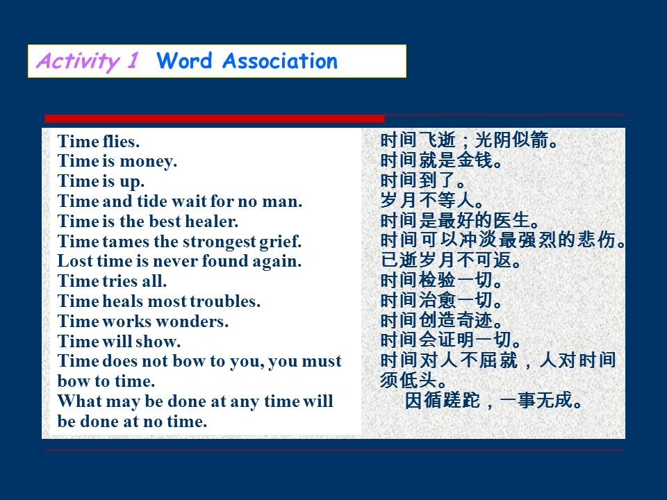Activity 1 Word Association at the same time, arrange one's time, afford the time, all the time, at times ( 有时 ), before/ahead of one's time, behind the time ( 落后 ), for the time being ( 暂时 ), from time to time ( 有时, 偶尔 ), gain time, hard times, have a good time, have no time for, in no time ( 立刻 ), in time, in one's spare/free time, keep up/march with times ( 跟上潮流 ), kill time, lose time, make up the time, on time, race against time ( 争取时间 ), run out of time, spare time, take one's time ( 不慌不忙 ), take time off ( 请假 ), time and again, time clock, time-consuming, time-saving, time limit, timepiece, time zone, the concept of time, time-urgent ( 紧 迫的 ), value time, waste time, work against time ( 争取时间工作 )