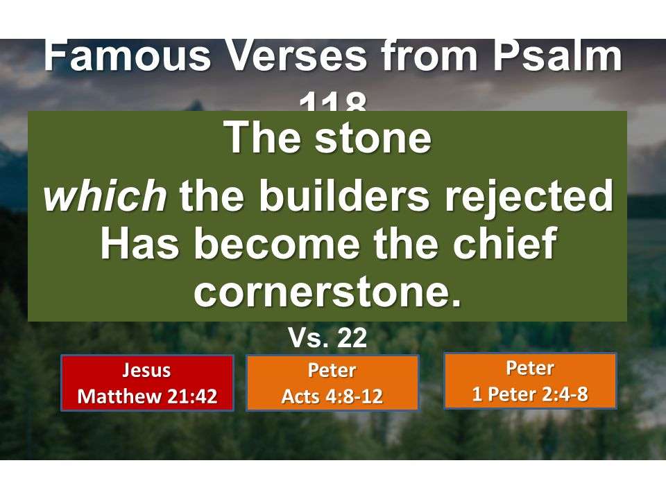 Famous Verses from Psalm 118 The stone which the builders rejected Has become the chief cornerstone. Vs. 22 Jesus Matthew 21:42 Peter Acts 4:8-12 Pete