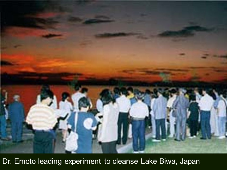 Dr. Emoto leading experiment to cleanse Lake Biwa, Japan