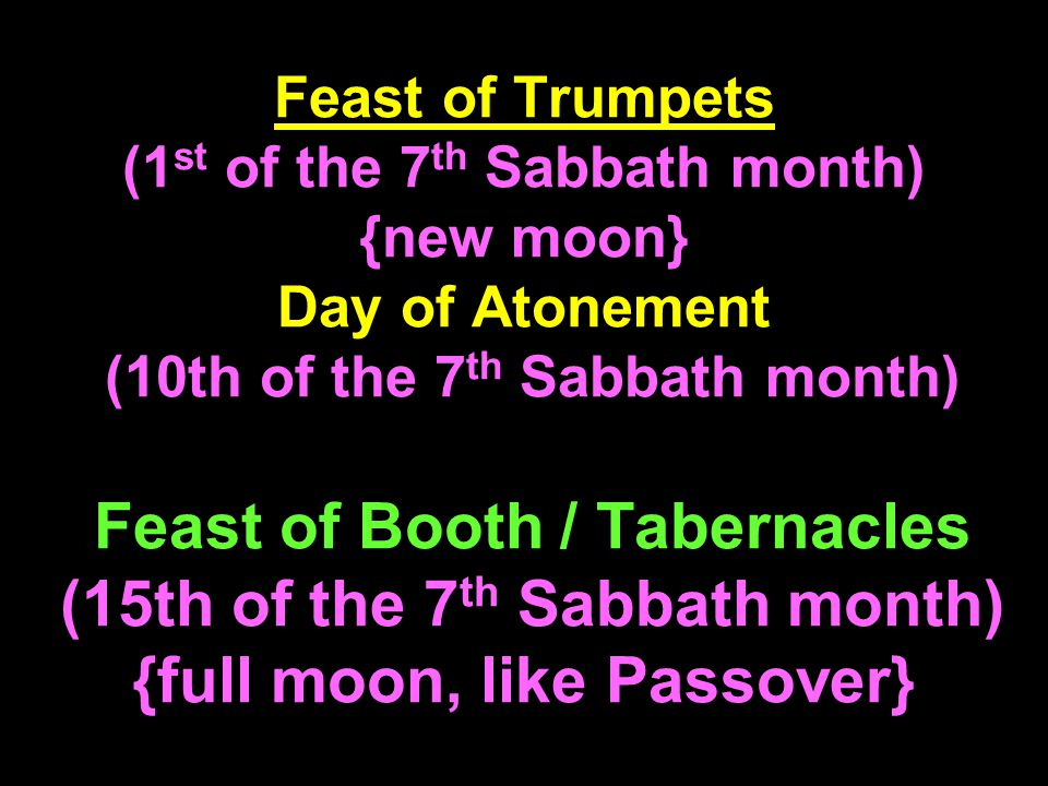 Feast of Trumpets (1 st of the 7 th Sabbath month) {new moon} Day of Atonement (10th of the 7 th Sabbath month) Feast of Booth / Tabernacles (15th of the 7 th Sabbath month) {full moon, like Passover}