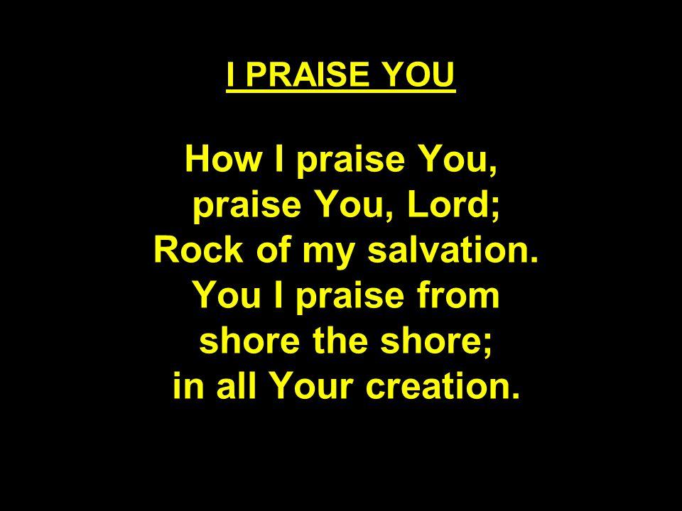 I PRAISE YOU How I praise You, praise You, Lord; Rock of my salvation.