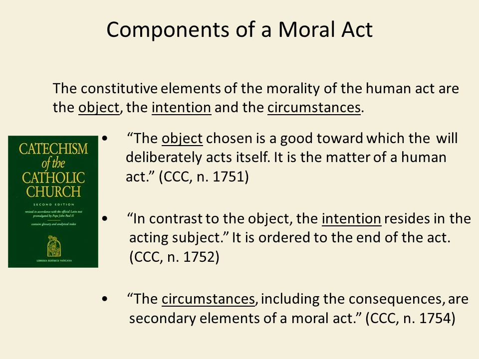 Components of a Moral Act The constitutive elements of the morality of the human act are the object, the intention and the circumstances.
