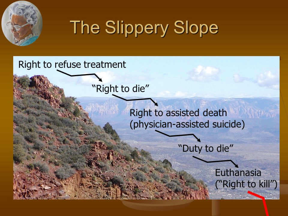 The Slippery Slope Right to refuse treatment Right to die Right to assisted death (physician-assisted suicide) Duty to die Euthanasia ( Right to kill )
