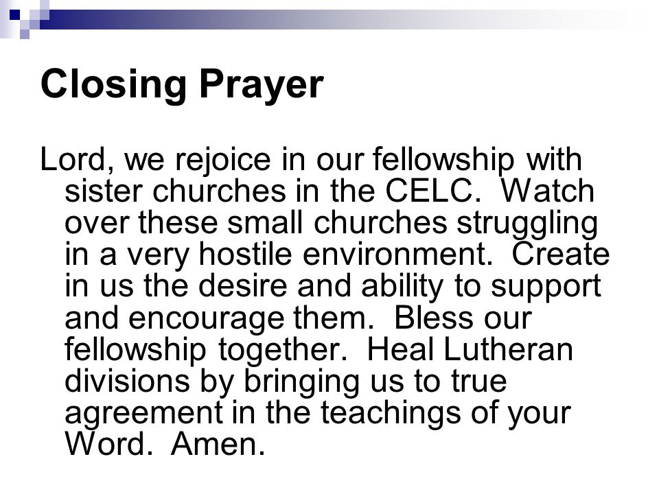 Closing Prayer Lord, we rejoice in our fellowship with sister churches in the CELC.