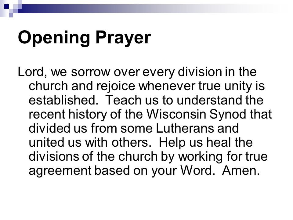 Opening Prayer Lord, we sorrow over every division in the church and rejoice whenever true unity is established.