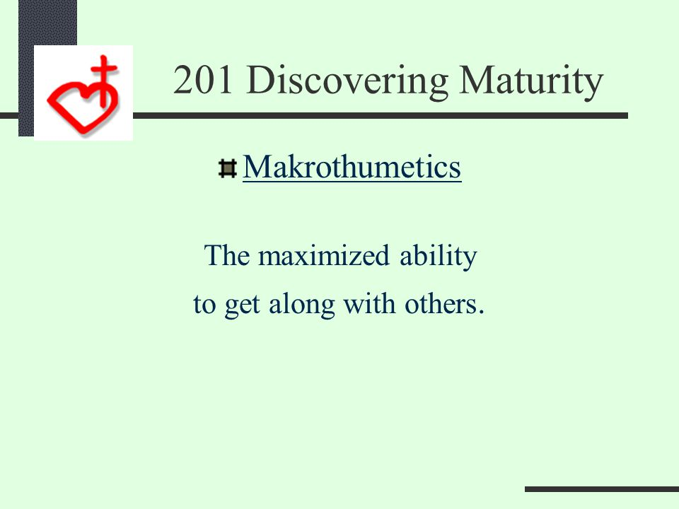 201 Discovering Maturity You may have Faith But Patience is The key to your Promise