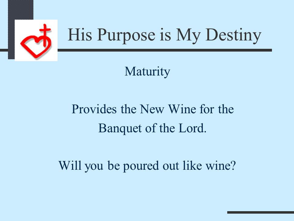 Father is the Gardener Maturity Submits to the care of the vine dresser. 1. His Wisdom 2. His Timing 3. His Purpose