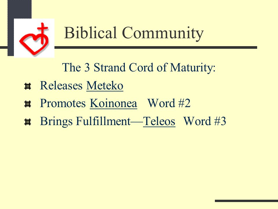 The Mature share 3 areas of Maturity: Daily time with Jesus Weekly Cell Group Monthly tithe with Jesus