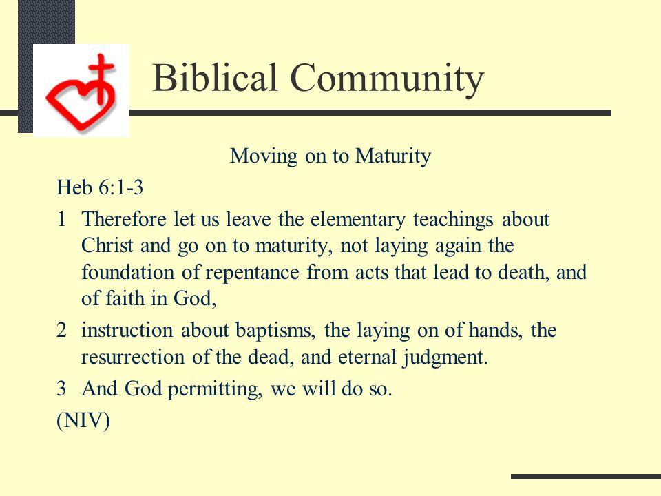 Biblical Community The 3 Strand Cord of Maturity: Releases Meteko Promotes Koinonea Word #2 Brings Fulfillment—Teleos Word #3