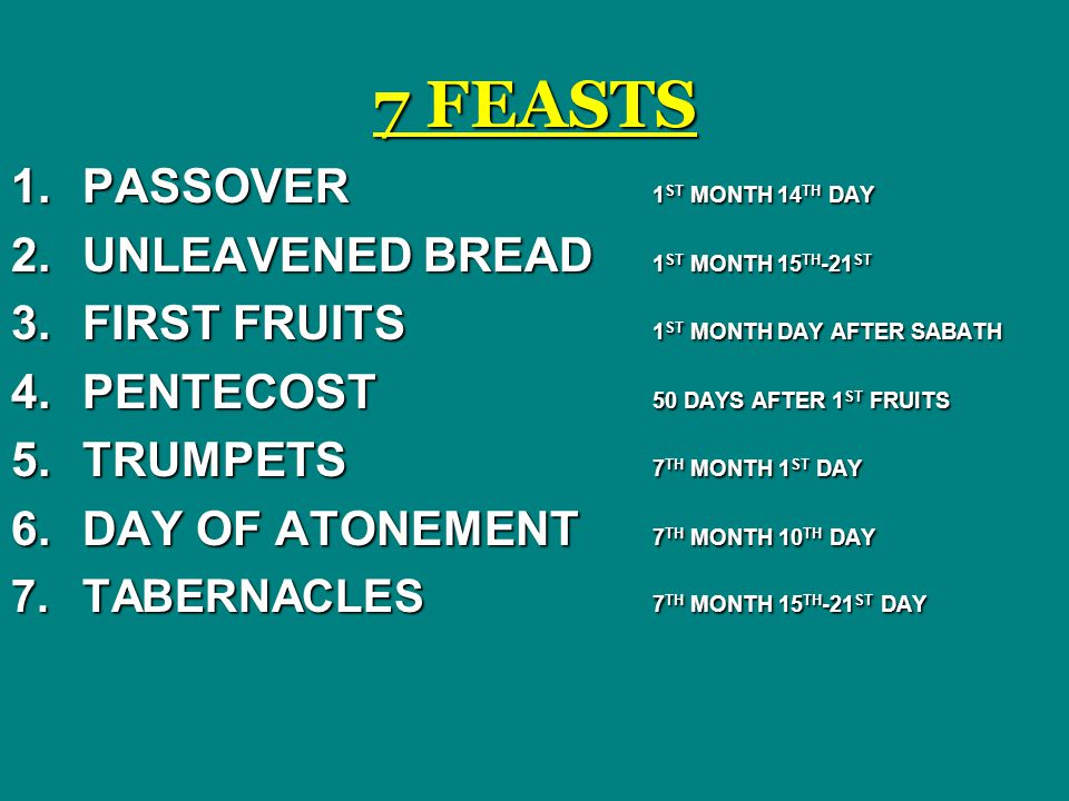 7 FEASTS 1.PASSOVER 1 ST MONTH 14 TH DAY 2.UNLEAVENED BREAD 1 ST MONTH 15 TH -21 ST 3.FIRST FRUITS 1 ST MONTH DAY AFTER SABATH 4.PENTECOST 50 DAYS AFTER 1 ST FRUITS 5.TRUMPETS 7 TH MONTH 1 ST DAY 6.DAY OF ATONEMENT 7 TH MONTH 10 TH DAY 7.TABERNACLES 7 TH MONTH 15 TH -21 ST DAY