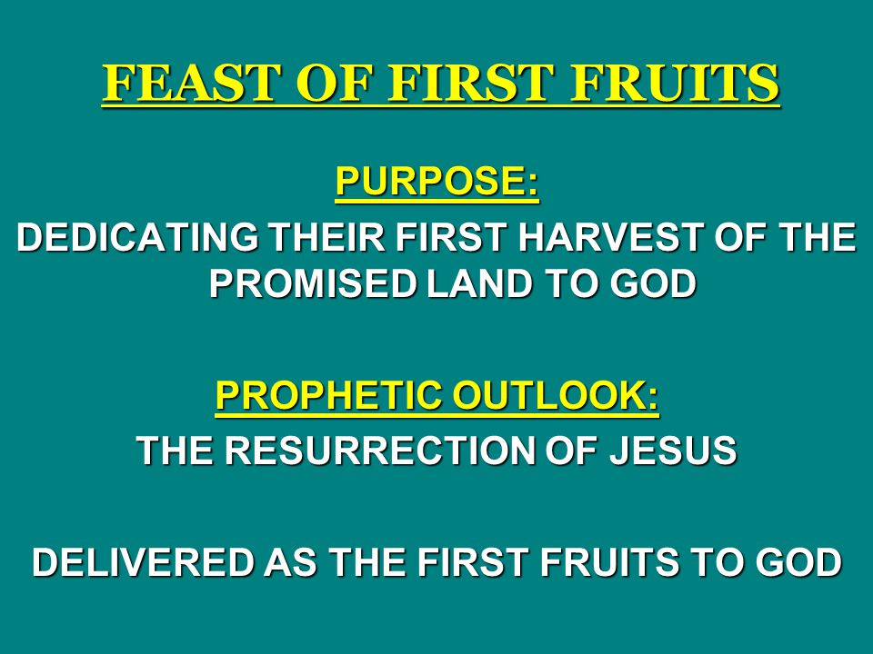FEAST OF FIRST FRUITS PURPOSE: DEDICATING THEIR FIRST HARVEST OF THE PROMISED LAND TO GOD PROPHETIC OUTLOOK: THE RESURRECTION OF JESUS DELIVERED AS THE FIRST FRUITS TO GOD